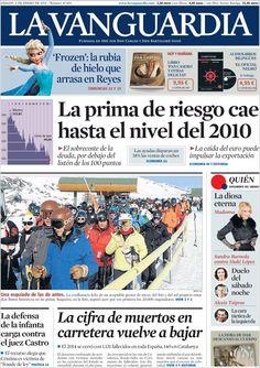 Diario LA VANGUARDIA del 3 de Enero 2015 Recordamos que pueden visualizar cada día las principales portadas titulares ocurridos en España - Catalunya - Barcelona en http://www.youtube.com/vendopor