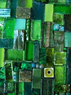 Music, green, fused glass.