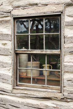 Cabin Window with stoneware