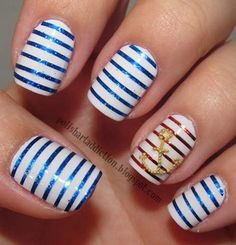 Nautical themed nails