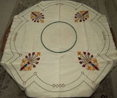 Circa-1910-Royal-Society-Arts-Crafts-Floral-Embroidered-Linen-Tablecloth-NR