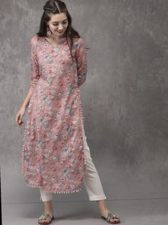 Buy Anouk Women Pink Printed Straight Kurta - Kurtas for Women from Anouk at Rs. Style ID: 2322979 Salwar Designs, Simple Kurti Designs, Kurta Designs Women, Kurti Designs Party Wear, Dress Designs, Blouse Designs, Pakistani Fashion Casual, Pakistani Dress Design, Indian Fashion Modern