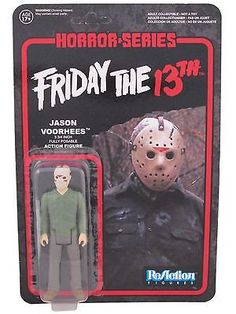 Get your very own retro action figure from Friday the 13th! This Friday the 13th Jason Voorhees ReAction Retro Action Figure features the murderous psychopath who wears a hockey goalie mask. Measuring 3 3/4-inches tall, this fantastic articulated ReAction figure from Super7 and Funko comes with a machete accessory. It has a look and style that harkens back to classic action figures made by companies like Kenner.