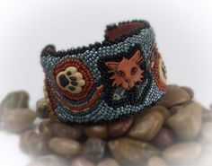 Cat Lover Gift Cat Jewelry Cat Bracelet Bead Embroidered Cuff Bead Embroidered Bracelet Kitty Cat Paw Print Jewelry Cuff Bracelet - 12063 by Jewelrywizard on Etsy
