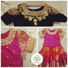 Saravana Street T. Baby Girl Party Dresses, Cute Girl Dresses, Little Girl Dresses, Kids Indian Wear, Kids Ethnic Wear, Kids Dress Wear, Kids Gown, Kids Blouse Designs, Kids Dress Patterns