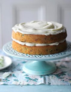 "Courgette and Sultana Cake {zucchini & white raisins} ~ with walnuts and a mascarpone & citrus curd icing | recipe by Jo Wheatley, s2 winner of ""Great British Bake Off"" ~ via Sainsbury's Magazine"