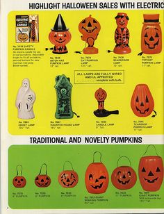 Vintage Halloween Ad for blow mold lanterns & candy buckets
