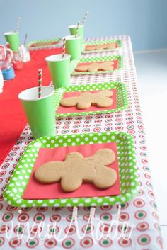 Cookie decorating at a Christmas party! See more party planning ideas at CatchMyParty.com!