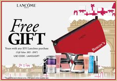 Lancome free gift with $35 purchase at Boscov's. http://cliniquebonus.org/lancome-gift-with-purchase/