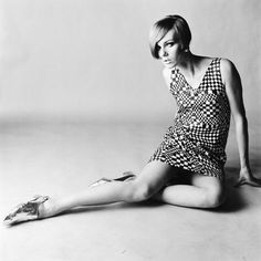 Nicole de la Marge in op-art check minidress, photo by Brian Duffy for 'Queen', c.1965
