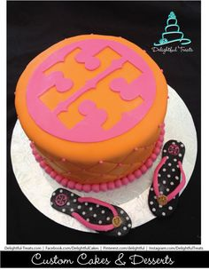 OMG!! How cute is this I want this cake for my birthday saving it!!!  Tory Burch Flip Flop Cake  | Delightful Treats