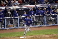 The Latest: Cubs win first World Series title since 1908 Chicago Cubs' David Ross rounds the bases after a home run against the Cleveland Indians during the sixth inning of Game 7 of the Major League Baseball World Series Wednesday, Nov. 2, 2016, in Cleveland. (AP Photo/Charlie Riedel)