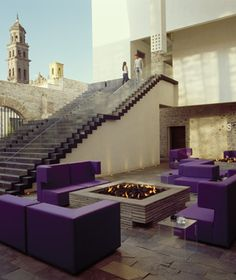 Love the outdoor firepit, the seating, and the staircase