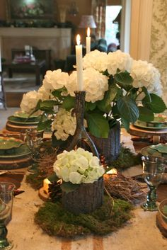 Love this!  vignette design: A Woodland Style Tablescape for January