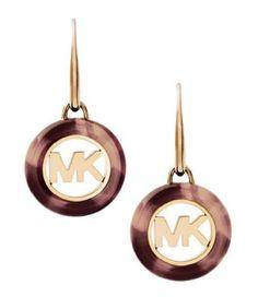 Michael-Kors-MKJ5354-Womens-Fulton-MK-Logo-Tortoise-Goldtone-1-Drop-Earrings