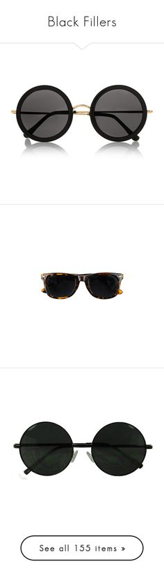 """""""Black Fillers"""" by electrasullivan ❤ liked on Polyvore featuring accessories, eyewear, sunglasses, glasses, black, round frame glasses, acetate glasses, round metal sunglasses, round sunglasses and round acetate sunglasses"""