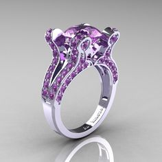 French Vintage 14K White Gold 3.0 CT Lilac Amethyst Pisces Wedding Ring Engagement Ring Y228-14KWGLA