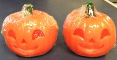 Vintage Halloween Gurley Candles ~ Cute Pair of Tiny Jack O' Lantern Pumpkins