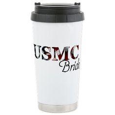 USMC Bride Stainless Steel Travel Mug - Coffee, tea, soda, or pop....wedding-bound!  - - GirlWithDesignIdeas.com