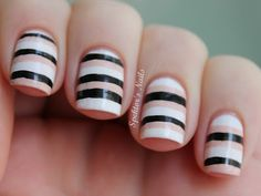 Nude Black White Stripes Nail Art A 10 Cute Black And White Nail Art Designs For Nails