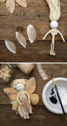 You will love this DIY Fairy Doll Tutorial. They're made using simple things and are a no-sew project! Fairy Crafts, Doll Crafts, Felt Fairy, Clothespin Dolls, Doll Tutorial, Flower Fairies, Fairy Dolls, Soft Dolls, Christmas Crafts