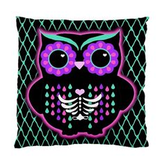 Sugar Owl pillow cushion case by Lttle Shop Of Horrors.  SUGAR SKULL, DAY OF THE DEAD, MUERTOS, GOTHIC, EMO