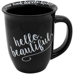 TMD Hello Beautiful Curve Mug ($6.97) ❤ liked on Polyvore featuring home, kitchen & dining, drinkware, cups, filler, drinks, food, house, black and white and black and white mugs