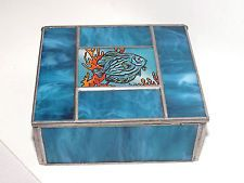 Stained Glass / Reverse Painted Blue Jewelry Trinket Box w/ Fish Signed Sullo