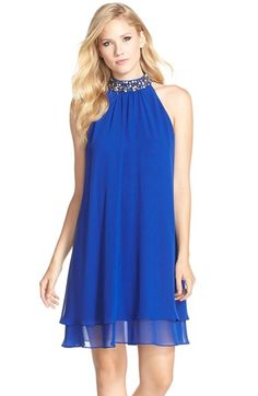 Eliza J Beaded Neck Chiffon Shift Dress available at #Nordstrom