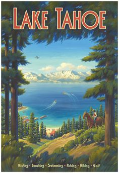 Affiche Vintage - Voyages - USA - Lac Tahoe