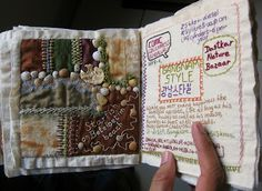 The Crazy Quilt Journal, will do this with paper and some fabric...finally get to figure out how to use the paper sewing machine.