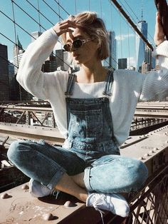 Sweater Overalls Outfit Sneakers Outfit Oversized Sweater Outfits