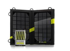 ($112) - Recharges cell phones in an hour. Recharges AA and AAA batteries, laptops, etc. ~ Sheila - Goal Zero 41022 Guide 10 Plus Solar Recharging Kit : Amazon.com : Automotive