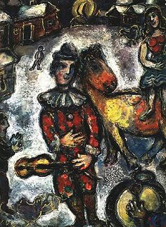 "Marc Chagall ""Circus in a Village"", 1969 (Belarus / France, Naive Art, cent. Marc Chagall, Caravaggio, Kandinsky, Chagall Paintings, Clown Paintings, Indian Paintings, Georges Braque, Art Textile, Paul Gauguin"