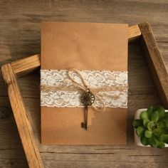rustic lace folded wedding invitations with vintage keys