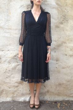Vintage Black Dress blue knee length with polka dot chiffon overlay, sheer 3quarter length sleeves.