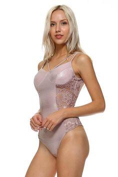 Salt Tree Women's Metallic Ribbed Lace Insert Bodysuit , US Seller