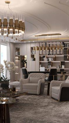 Contemporary Interior Design, Luxury Interior Design, Interior Design Inspiration, Luxury Home Designs, Modern Design, Living Room Essentials, Luxury Office, New Wall, Luxury Living