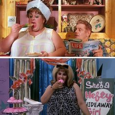 Divine, Jerry Stiller and Ricki Lake (as Edna, Wilbur and Tracy Turnblad) from John Waters' Hairspray, 1988