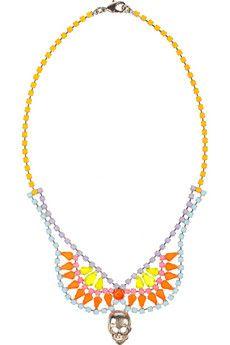 Tom Binns Rainbows End Painted Swarovski Crystal Necklace $615