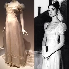 "Audrey Hepburn in a dress by Fernanda Gattinoni for the movie ""War and Peace""."