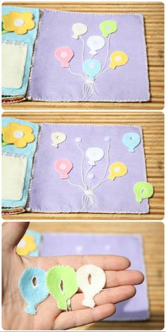 Quiet book page balloons and buttons