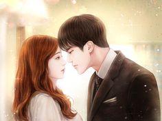 Cute Couple Art, Anime Love Couple, Korean Art, Korean Drama, Kawaii Anime Girl, Anime Art Girl, Korean Illustration, Sketches Of Love, Exo Fan Art