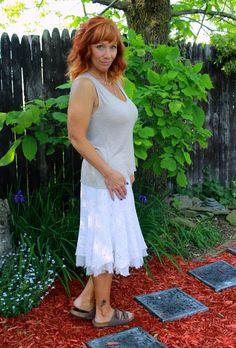Fashion Fairy Dust: white crochet skirt, tank top, Birkenstocks