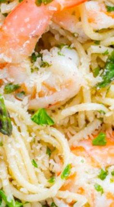 Shrimp Scampi Pasta with Asparagus has a lemon garlic and herb sauce that packs so much fresh and amazing flavor. A 30 minute shrimp scampi pasta recipe! Fettuccine Recipes, Tortellini Recipes, Best Pasta Recipes, Spaghetti Recipes, Seafood Recipes, Great Recipes, Cooking Recipes, What's Cooking, Cooking Ideas