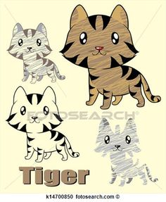 Illustration of cute little tiger  View Large Clip Art Graphic