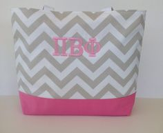 Pi Beta Phi Sorority tote bag pink and taupe by PinkBakenBoutique.
