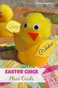 Easter Chick Place Cards - The Seasoned Mom