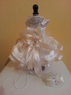 IVORY SATIN DOG DRESS PET DRESS with matching bow SPECIAL OCCASION DRESS, DOG WEDDING DRESS msfreddiej@gmail.com