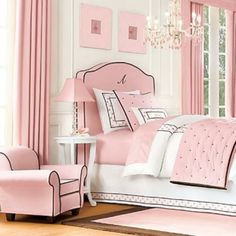 Black And Pink Teen Girl's Bedroom... Beautiful! Love the lines! But, that chair seems kinda tiny for teenagers?